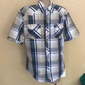 Hurley Plaid Short Sleeve Snap Shirt XL